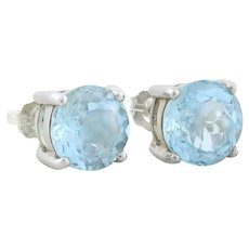 Sterling Silver Light Blue Topaz Earrings Stud Post Earrings