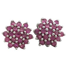 Sterling Silver Natural Ruby Flower Cluster Earrings Stud Post Earrings