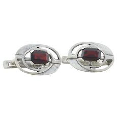 Sterling Silver Garnet Earrings Latch Back Earrings