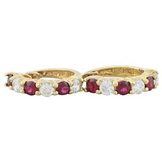 Gold over Sterling Silver Lab Created Ruby and Cz Earrings Huggie Hoop Earrings