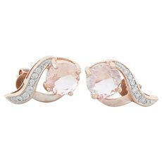 Rose Gold Over Sterling Silver Simulated Morganite Cz Earrings Stud Post Earrings