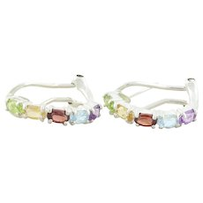 Sterling Silver Peridot, Citrine, Garnet, Topaz, Amethyst Earrings Hoop Earrings Omega Back