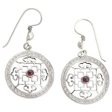 Sterling Silver Garnet Earrings Dangle Drop Earrings Chinese Design