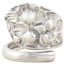 Sterling Silver Arum Calla Lily Flower Spoon Ring size 7 1/2 Adjustable