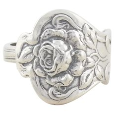 Sterling Silver Rose Flower Spoon Ring size 8 1/4 Adjustable