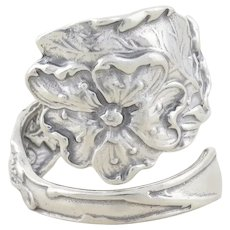 Sterling Silver Poppy Flower Spoon Ring size 7 1/2 Adjustable