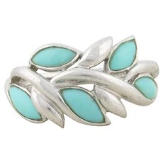 Sterling Silver Turquoise Leaf Design Band Ring Size  7 1/4