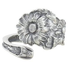 Sterling Silver Daisy Flower Spoon Ring size 8 Adjustable
