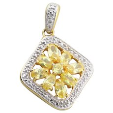 Gold over Sterling Silver Yellow CZ Pendant Only