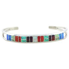 Sterling Silver Created Opal Inlay Cuff Bracelet 6.5 inch adjustable