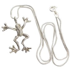 Sterling Silver Frog Necklace 18 inch chain