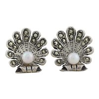 Sterling Silver Clam Shell Created Pearl and Marcasite Earrings Stud Post Earrings