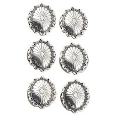 Sterling Silver Set of 6 Concho Button Covers