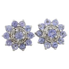 Sterling Silver Natural Tanzanite and Diamond Earrings Stud Post