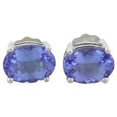 Sterling Silver Purple Tanzanite Earrings Stud Post Earrings