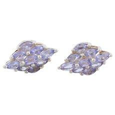 Sterling Silver Purple Natural Tanzanite Cluster Earrings Stud Post Earrings