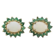 Gold over Sterling Silver Natural Opal and Emerald Earrings Stud Post Earrings