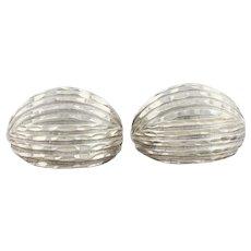 Sterling Silver Dome Earrings Half Hoop Earrings