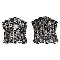 Sterling Silver Marcasite Earrings Stud Post Earrings