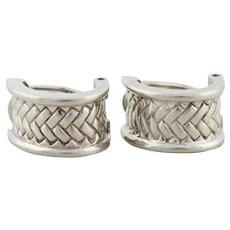 Sterling Silver Hoop Earrings Omega Back Braided Design