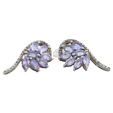 Sterling Silver Natural Tanzanite Cluster Earrings Stud Post Earrings