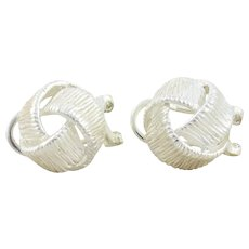 Sterling Silver Knot Earrings Stud Post Earrings Omega Back