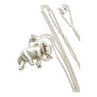 Sterling Silver Elephant Necklace Pendant Charm 18 inch chain
