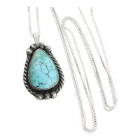 Sterling Silver Turquoise Necklace 18 inch chain