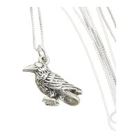 Sterling Silver Bird Crow Charm Pendant Necklace 18 inch chain