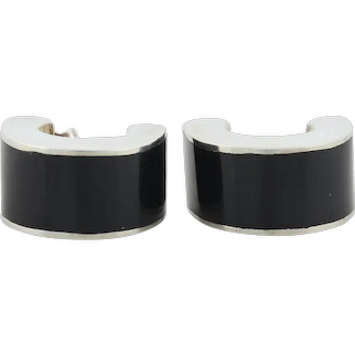 Sterling Silver Imitation Onyx Earrings Hoop Earrings
