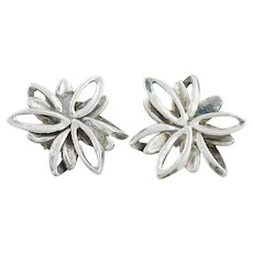 Sterling Silver Flower Earrings Stud Post Earrings