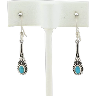 Vintage Sterling Silver Turquoise Earrings Dangle Drop Earrings