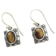 Sterling Silver Cat's Eye Quartz Earrings Dangle Drop Earrings