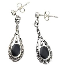 Sterling Silver Onyx Earrings Dangle Drop Earrings