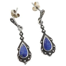 Sterling Silver Lapis Lazuli Earrings Dangle Drop Earrings