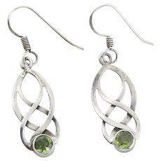 Sterling Silver Peridot Earrings Dangle Drop Earrings