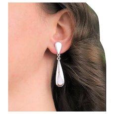Sterling Silver Mother of Pearl Earrings Dangle Drop Earrings