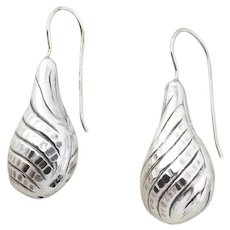 Sterling Silver Puffy Teardrop Earrings Dangle Drop Earrings