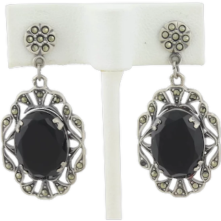 Vintage Sterling Silver Imitation Onyx and Marcasite Earrings Dangle Drop Earrings