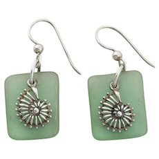 Sterling Silver Green Seaglass Seashell Earrings Dangle Drop