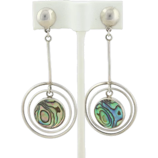Sterling Silver Long Abalone Shell Earrings Dangle Drop Earrings