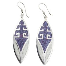 Sterling Silver Crushed Purple and White Stone Earrings Dangle Drop Earrings