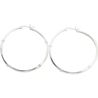 "Sterling Silver Large Hoop Earrings 2""  Rhodium Coated"