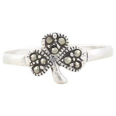 Sterling Silver Clover Shamrock Marcasite Ring Size 5