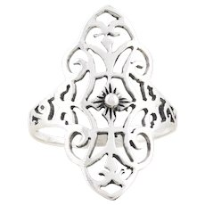 Sterling Silver Filigree Ring size 8 3/4