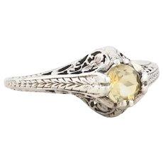 Sterling Silver Citrine High Set Floral Filigree Ring size 6 1/4