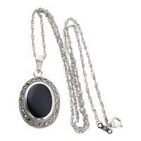 Sterling Silver Onyx and Marcasite Necklace 18 inch chain