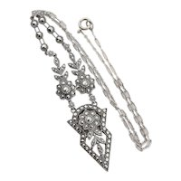 Sterling Silver Marcasite Necklace 18 inch Chain Art Deco
