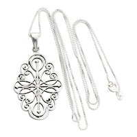 Sterling Silver Filigree Long Chain Necklace 24 inch chain