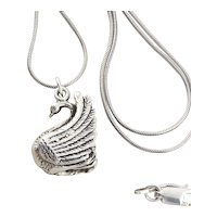 Sterling Silver Bird Swan Necklace 20 inch chain
